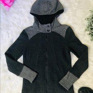 PRANA   Zip Up Wool Blend hooded Jacket